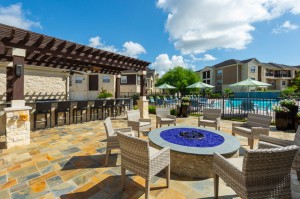 Apartments For Rent in Katy, TX - Fire Pit with Seating Area and View Pergola with Bar and Pool (2)